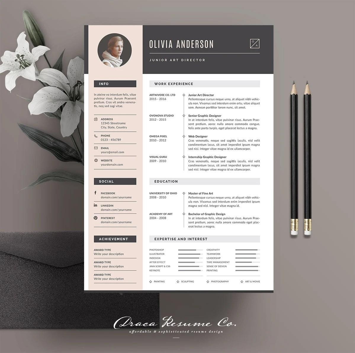 Professional Resume Template Modern CV Template Creative Etsy