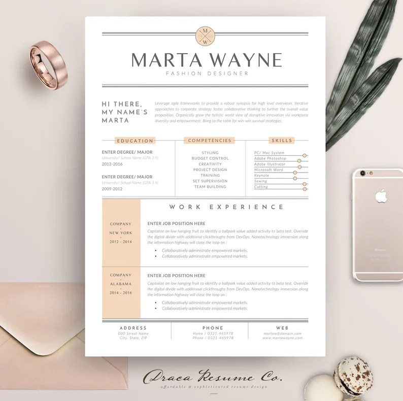 Resume template 3 pages for Fashion Designer CV Template  Etsy