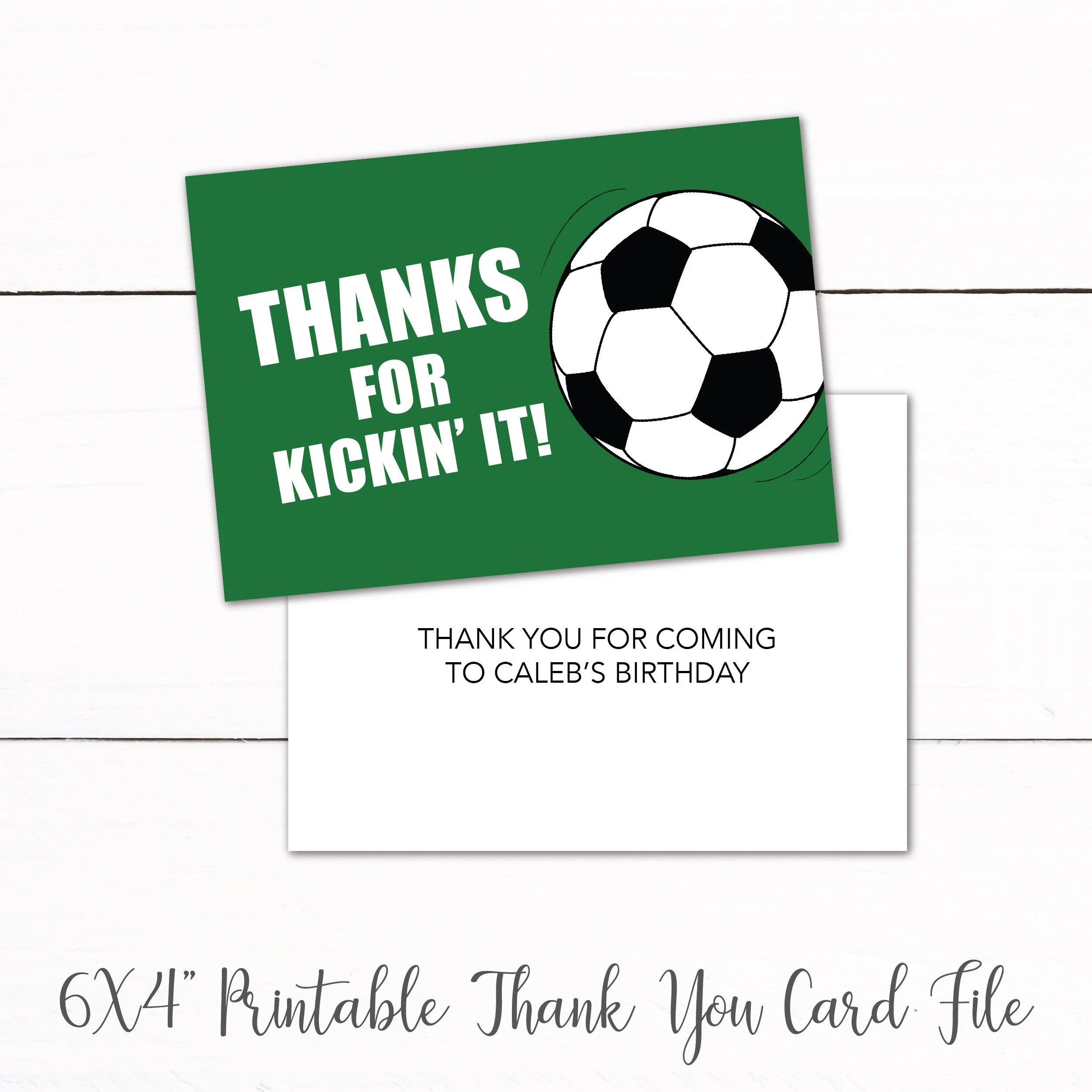 Soccer Birthday Party Printable Thank You Card Kids Soccer Etsy