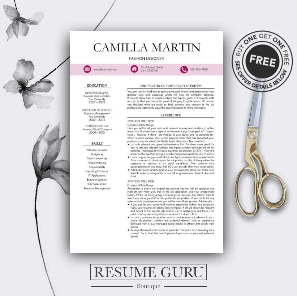 Resume Template for Professionals Instant Download Cover Etsy