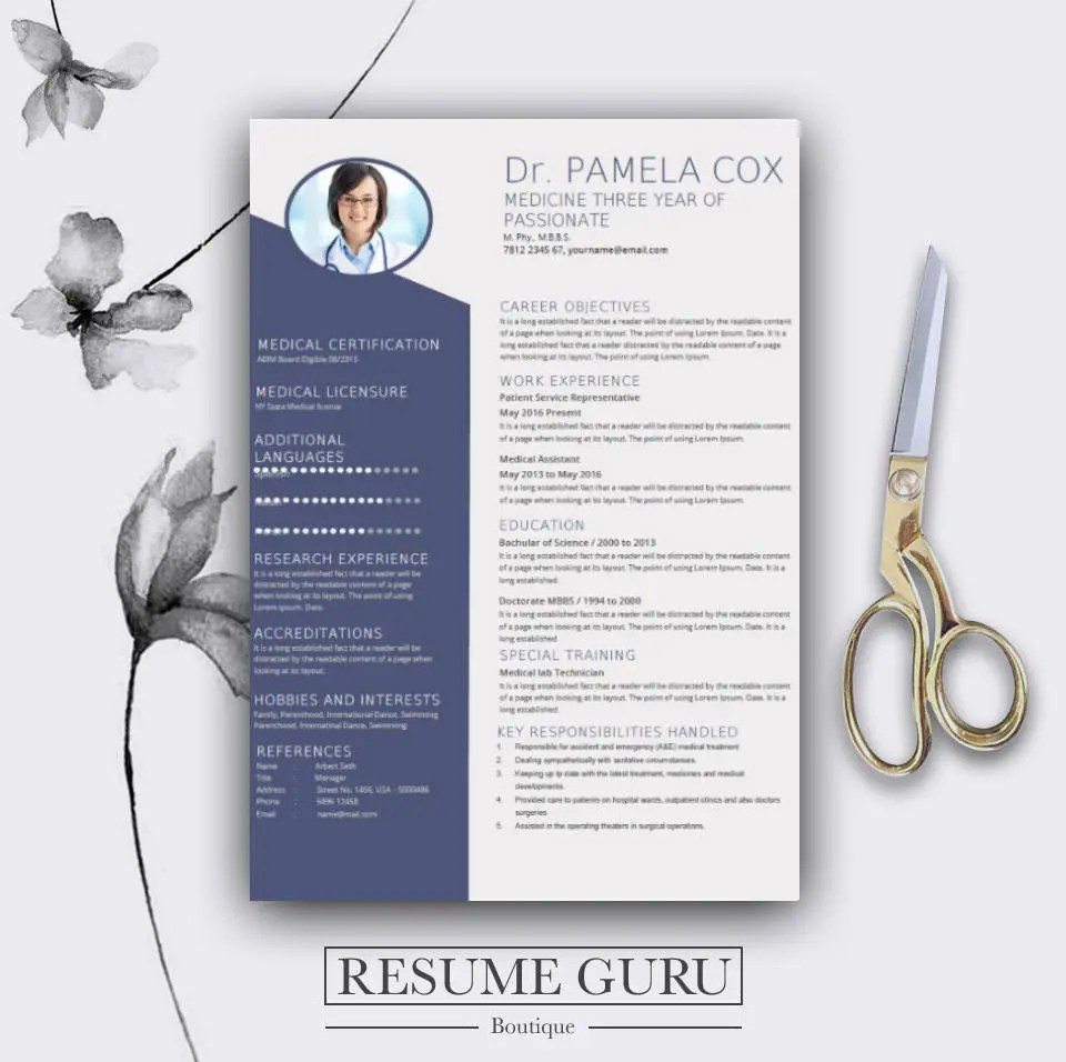 Medical Resume Template Cover Letter for MS Word Best CV Etsy
