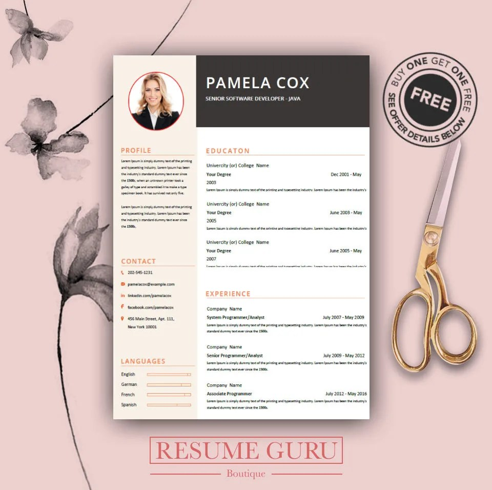 Professional Resume Template  Cover Letter Cv Professional Etsy