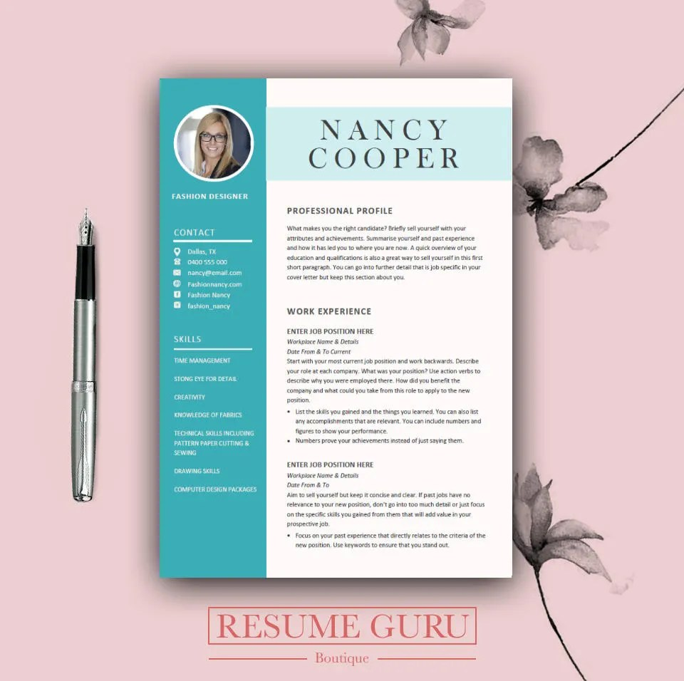 Professional Resume Template Cover Letter for MS Word Best Etsy