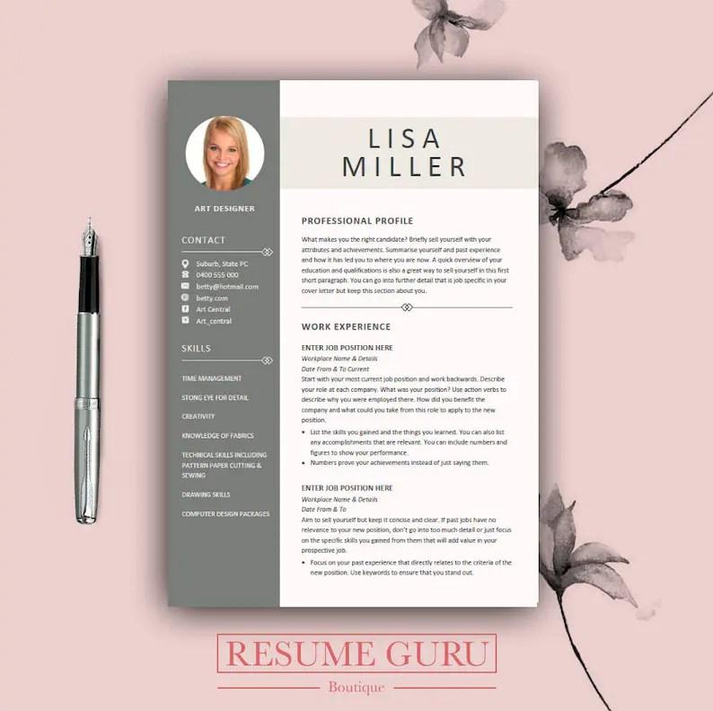 Teacher Resume Template Cover Letter for MS Word Modern CV Etsy