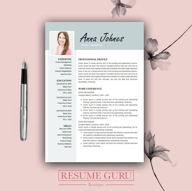 Teacher Resume Professional Resume Template Cover Letter Etsy