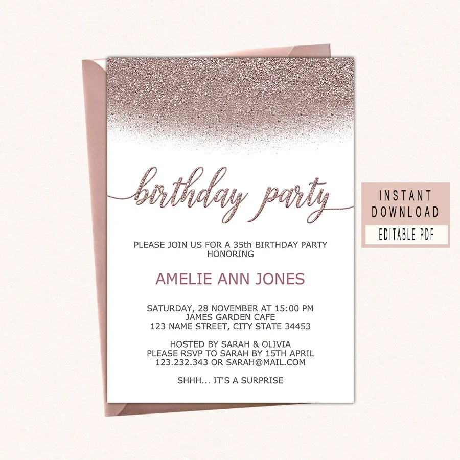 Birthday party invitations instant download woman birthday Etsy