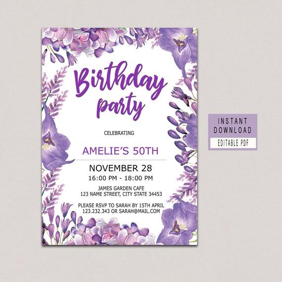 Floral Purple Birthday invitations for women adult birthday Etsy