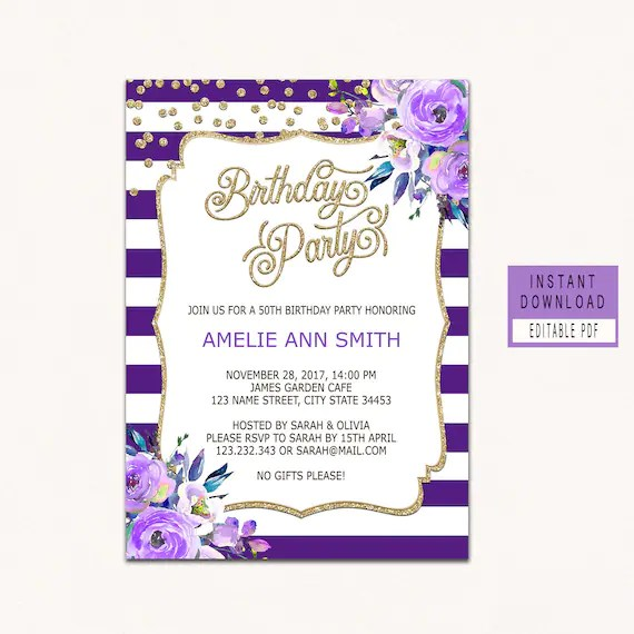 Floral Purple Birthday invitations for women adult birthday Etsy