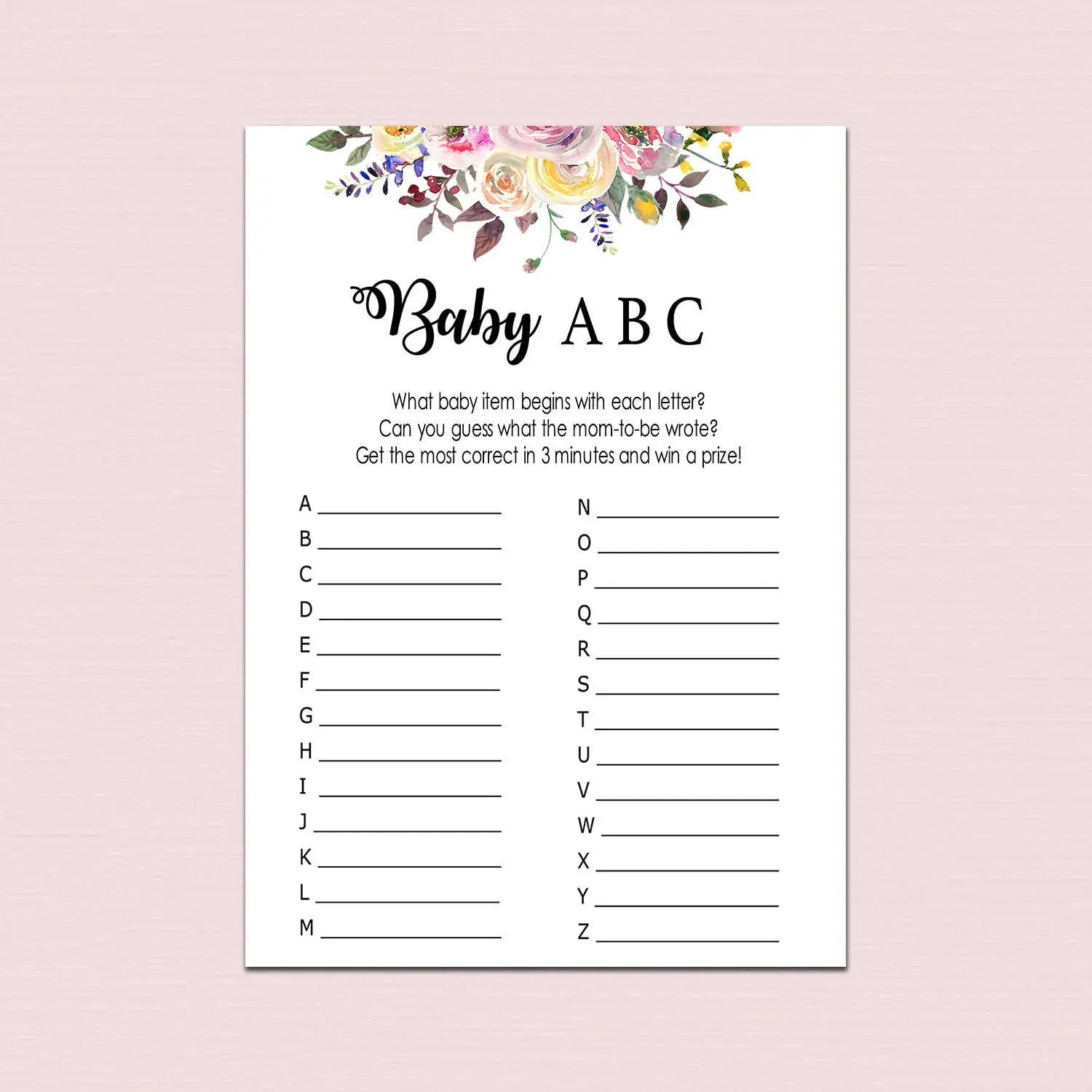 Floral BABY ABC GAME baby items game alphabet game Boho Etsy