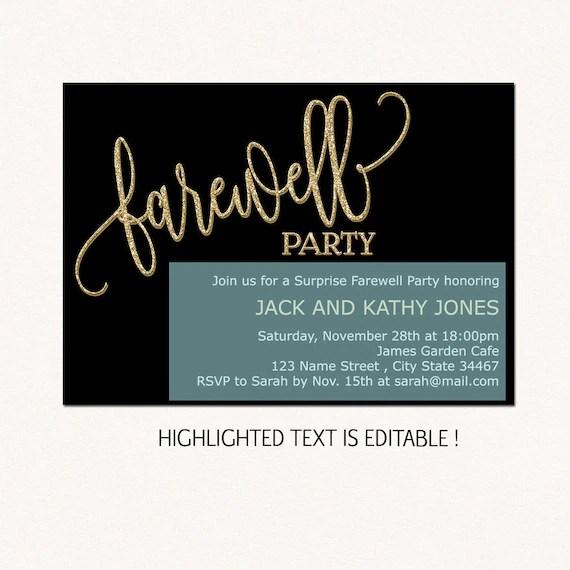 Farewell invitation download farewell invitation template Etsy