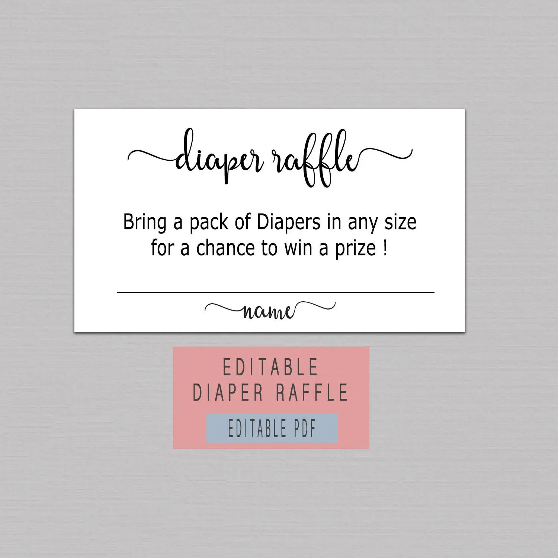 DIAPER RAFFLE TICKET Printable diaper raffle cards instant Etsy