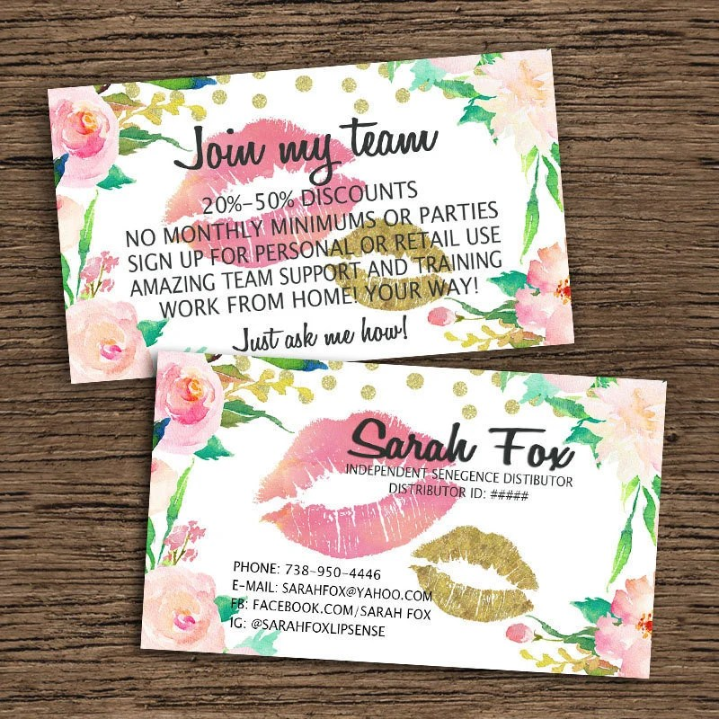 LipSense Business Card And Join My Team Card SeneGence Etsy - lipsense business card