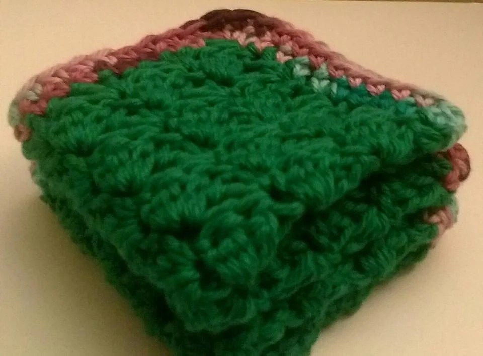 Crochet Green Washcloth with Purple Green Boarder Etsy