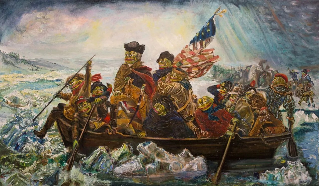 Pepe crossing the Delaware Pepelangelo Pepe the Frog oil Etsy