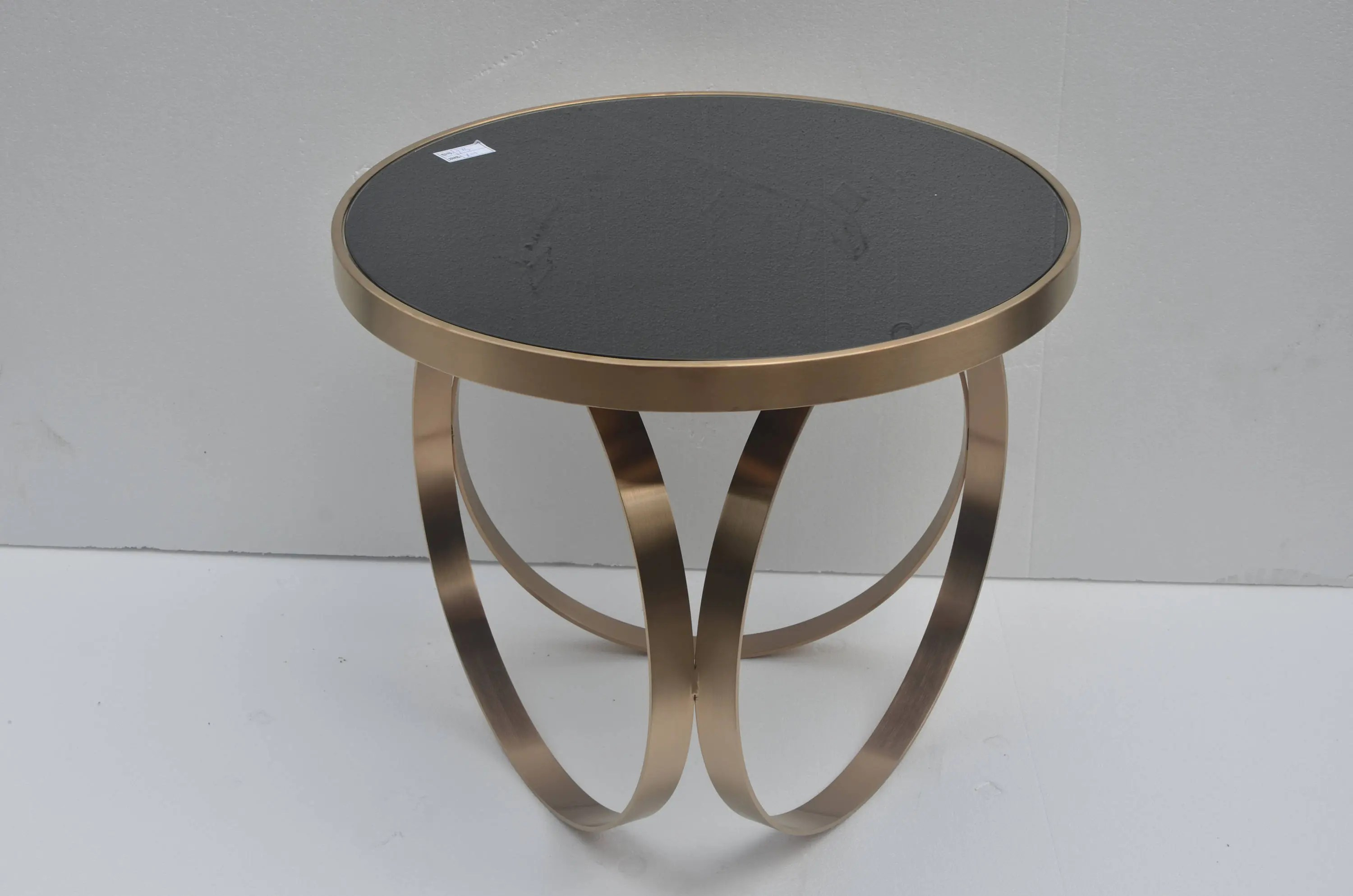 Couchtisch Martinique Round Rose Gold Glass Side Table