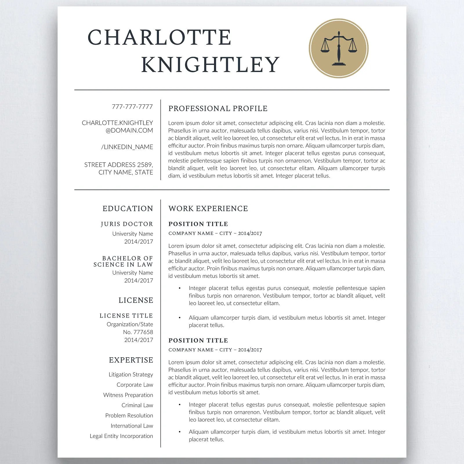 Legal Resume Template Lawyer Resume Attorney Resume Etsy - Law Resume Template