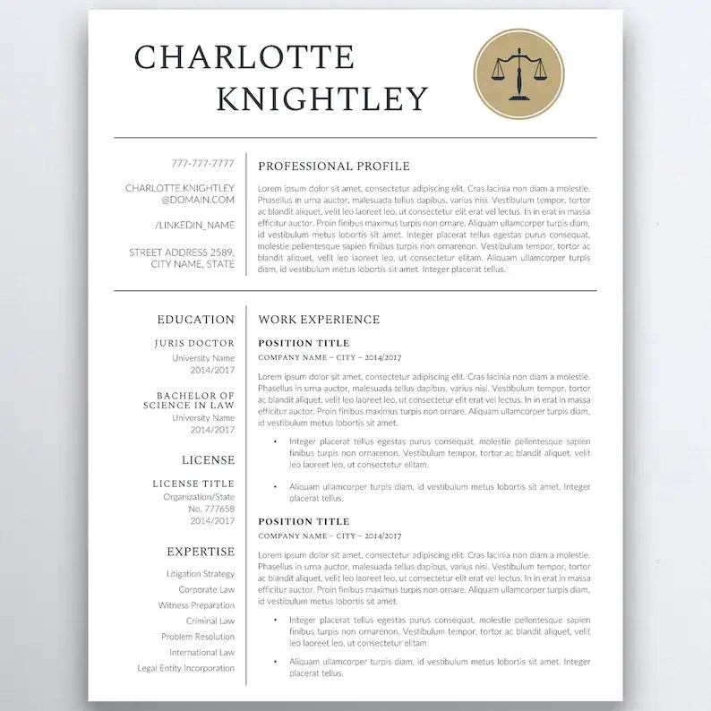 Legal Resume Template Lawyer Resume Attorney Resume Etsy