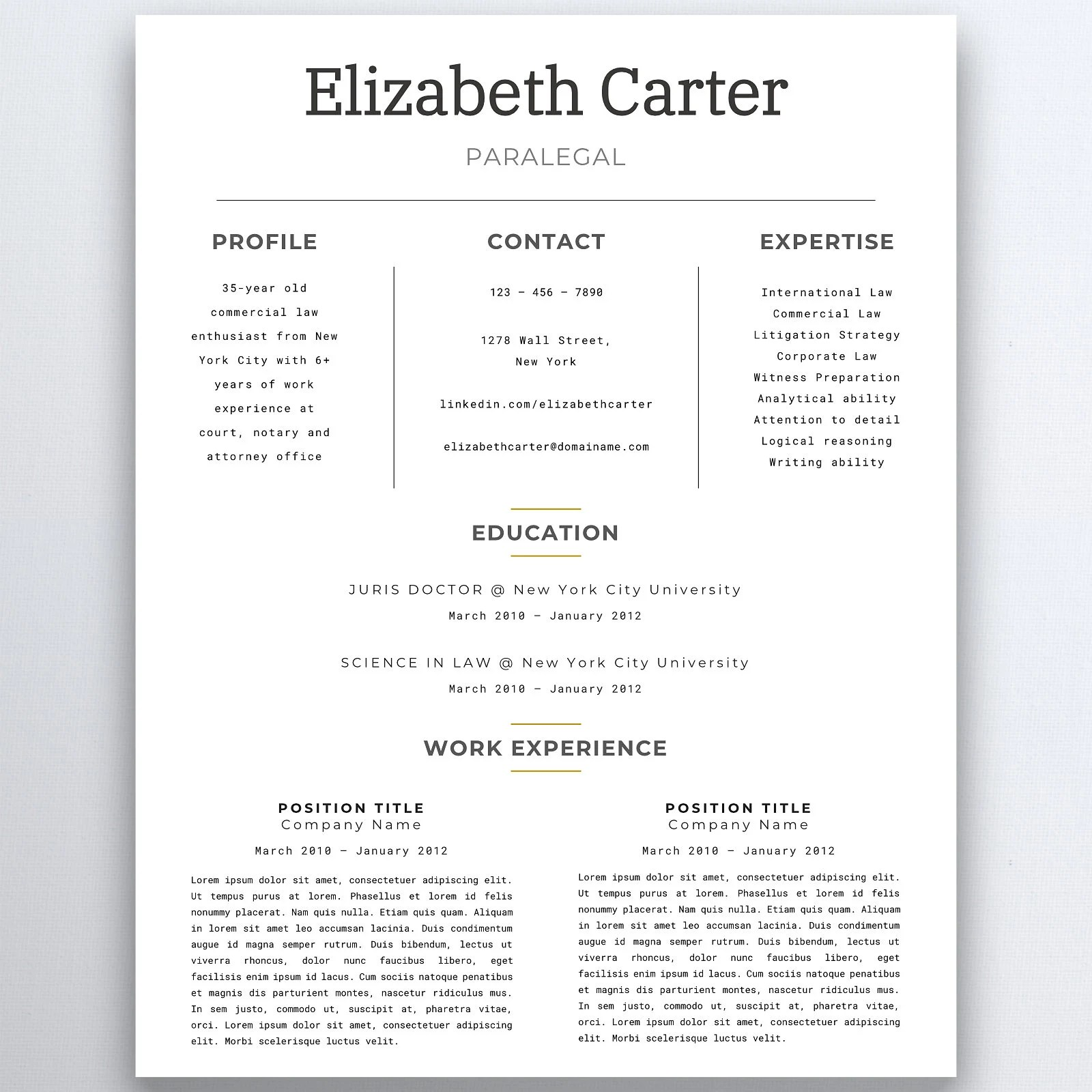 Assistant Resume Legal Resume Template Lawyer Resume Etsy
