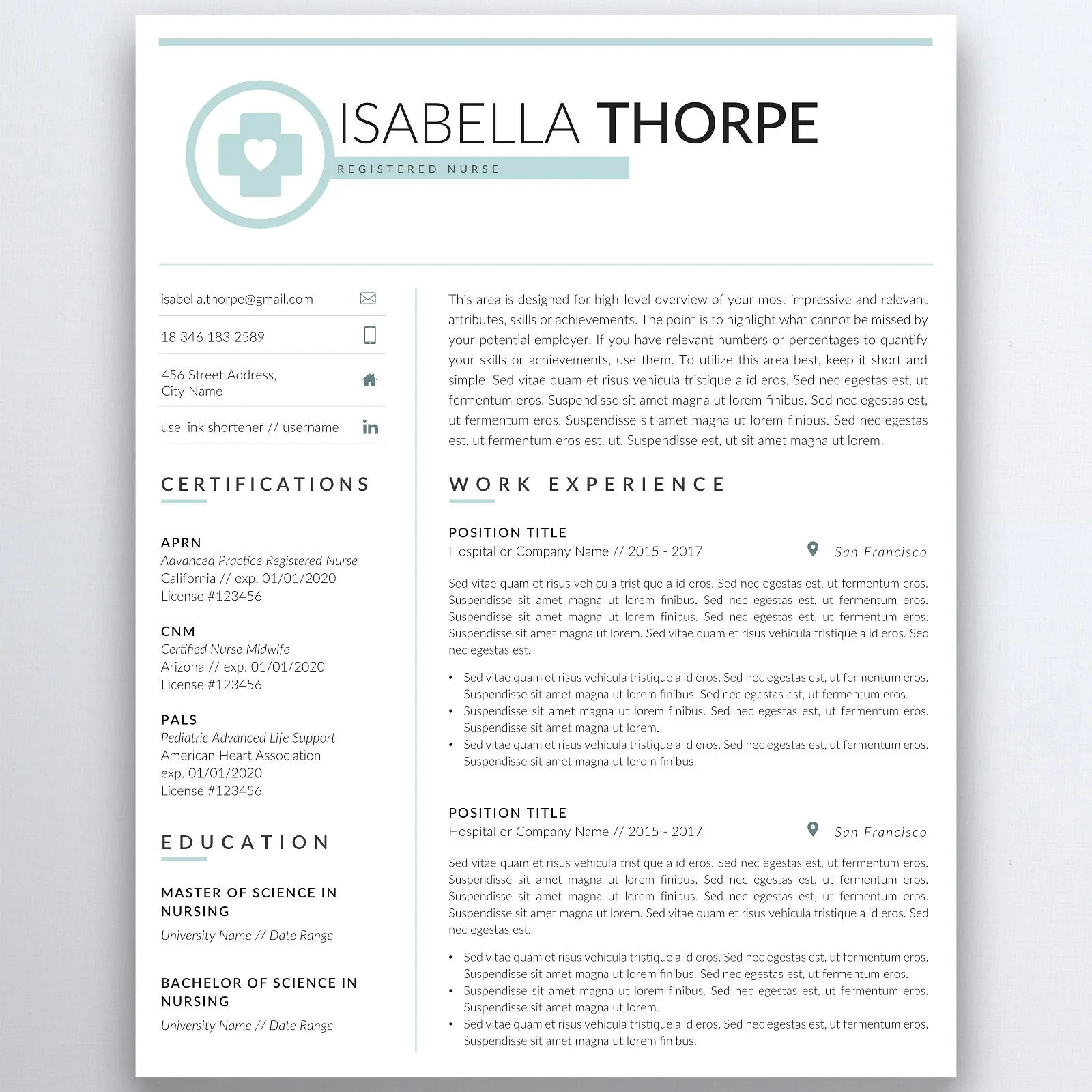 Nursing Resume Template 5 Pages Nurse Resume Registered Etsy