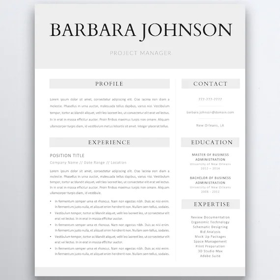 Professional Resume Template 5 Pages Clean Resume Template Etsy