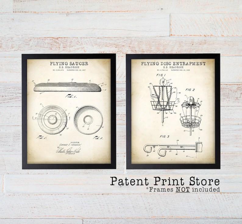 Frisbee Patent Art Frisbee Patent Print Set Frisbee Art Etsy