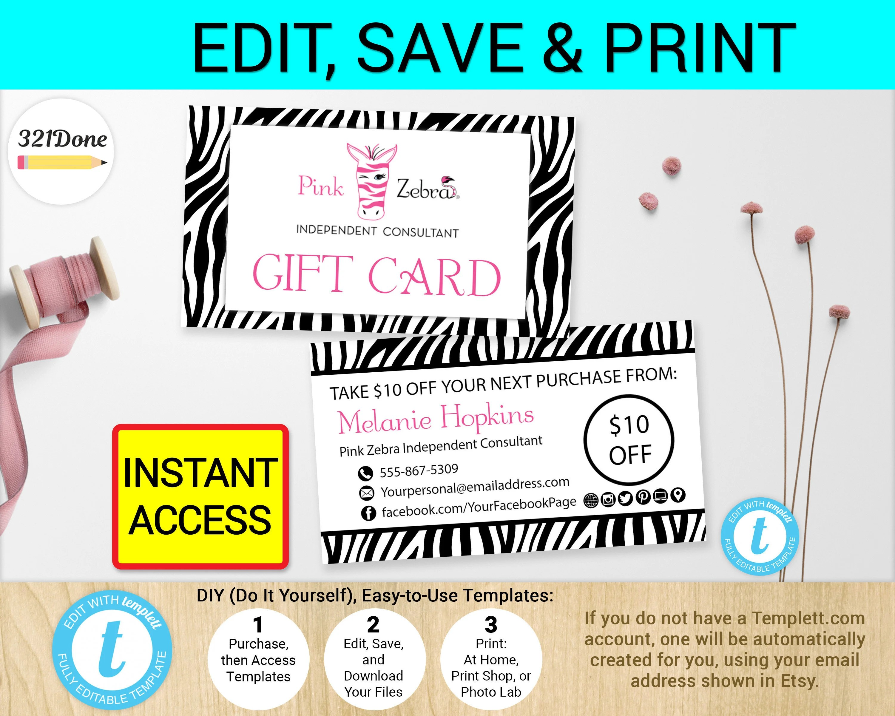 Pink Zebra Gift Card Business Cards Template Printable Digital Etsy - gift cards for business