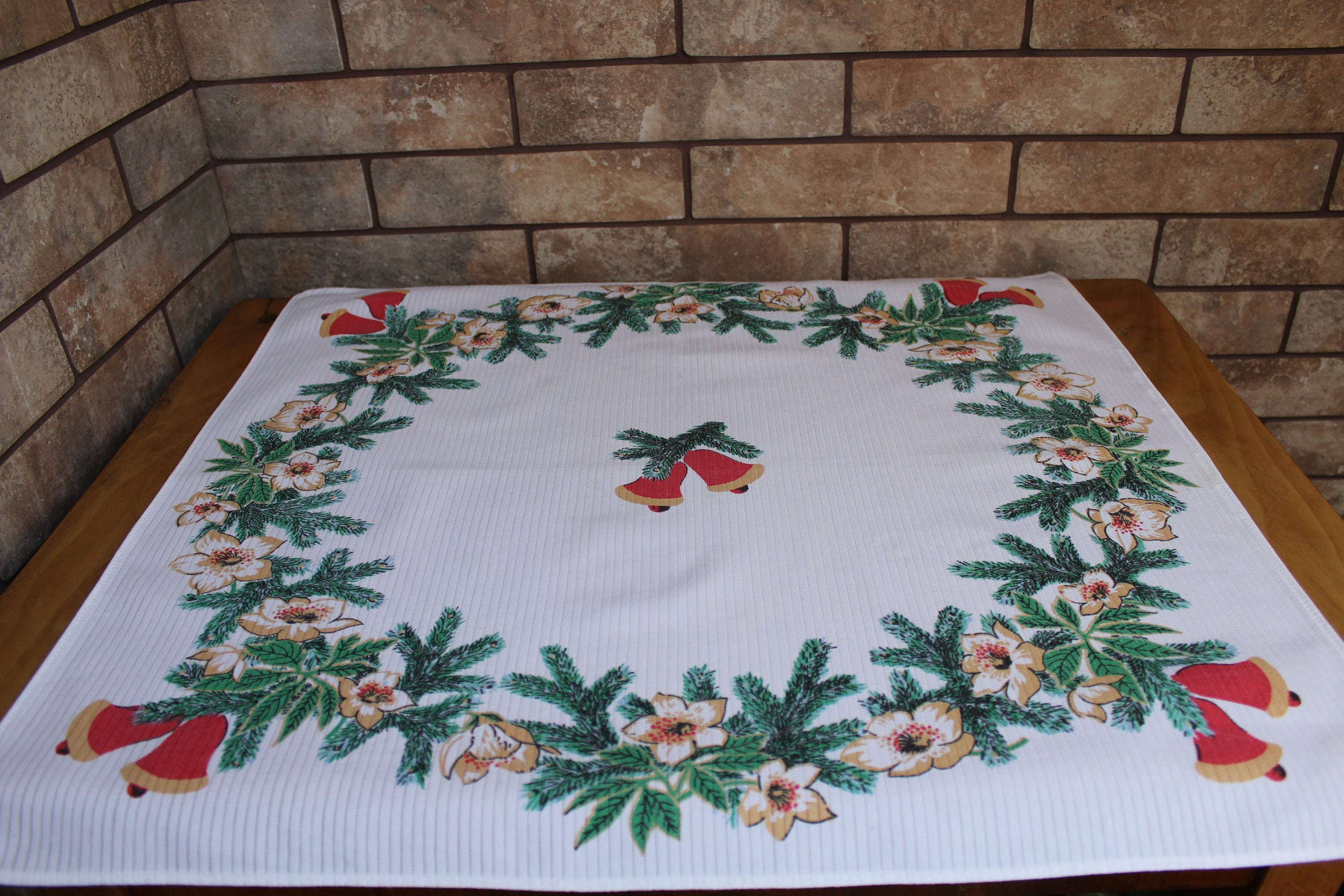 Christmas Tablecloths Australia Vintage Christmas Tablecloth Christmas Tree Bumps Holly Pine Tablecloth Xmas Holidays Holidays Table Linens Christmas Bells White