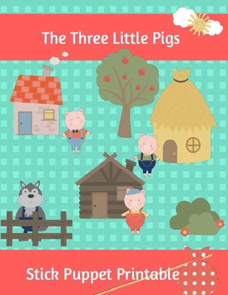 The Three Little Pigs Stick Puppet Printable 12 Elements Etsy