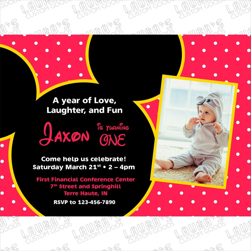 Mickey Mouse Birthday Card Mickey Mouse Card Template Mickey Etsy