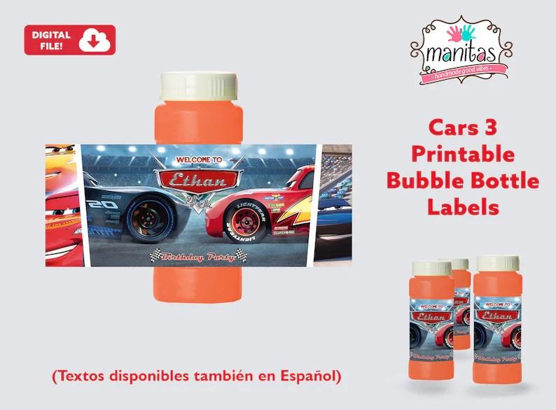 Cars 3 Printable Bubble Bottle Label Personalized Bubble Etsy