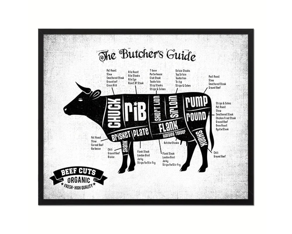 Beef Meat Cow Cuts Butchers Chart Shabby Chic Black Framed Gifts Cottage  Home Decor Wall Art Prints