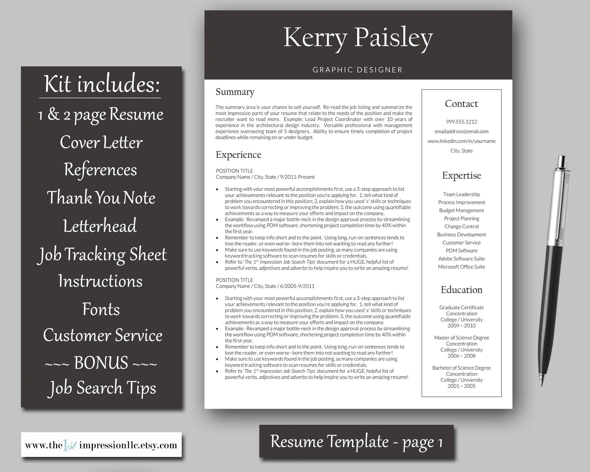 Resume Template Instant Download Microsoft Word PC Etsy