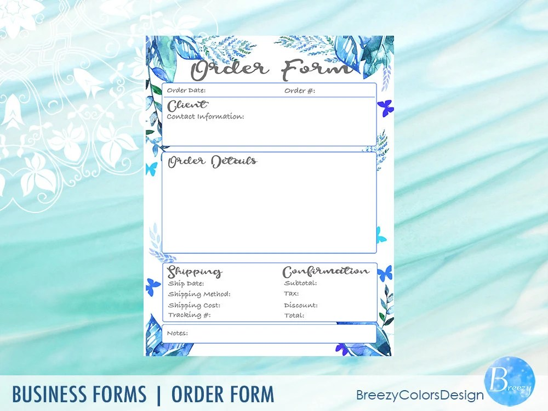 Craft Fair Order Form Printable Digital Quotation Template Etsy