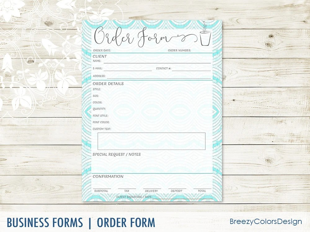 Tumbler Order Form Template Sales Ordering Sheet Client Etsy