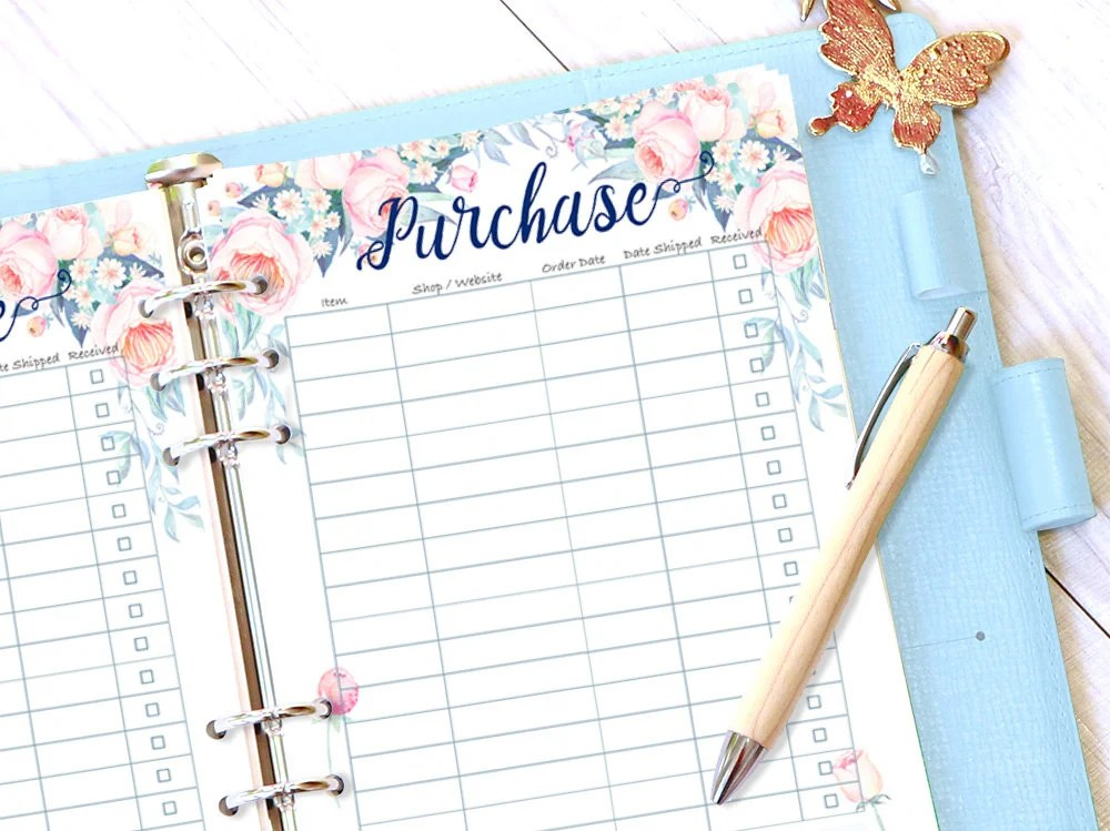Floral Purchase Tracker Printable Online Shopping List Log Etsy