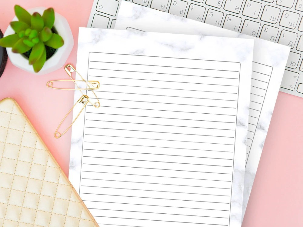 Lined Paper Background Writing Journal Printable Minimal Etsy