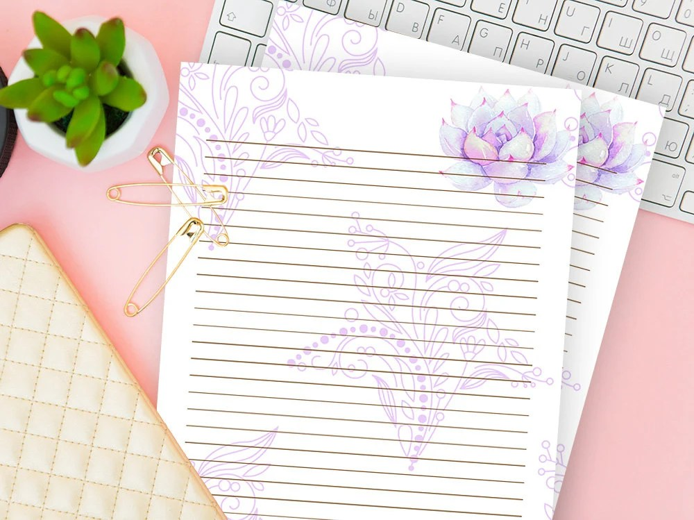 Ruled Paper Printable Lined Stationery Set of 2 Journal Page Etsy
