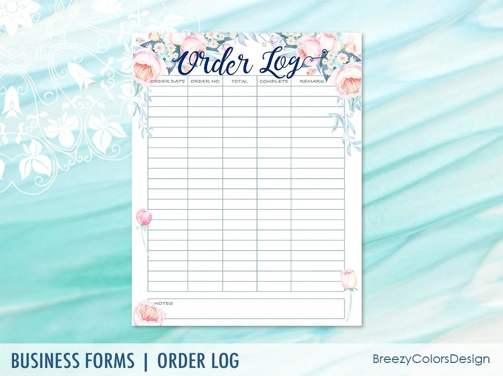 Floral Orders Tracker Sales Log Form Book Watercolour Etsy