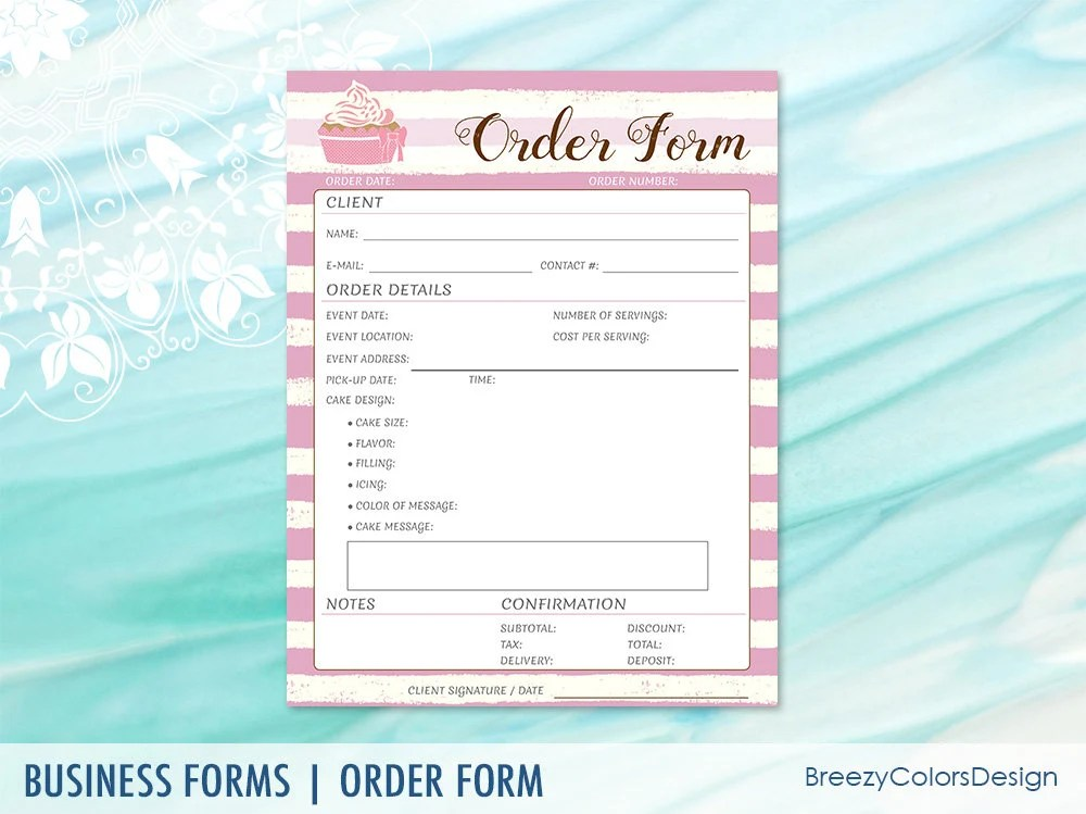 Cake Order Form Download for Wedding Bakery Business Homemade Etsy