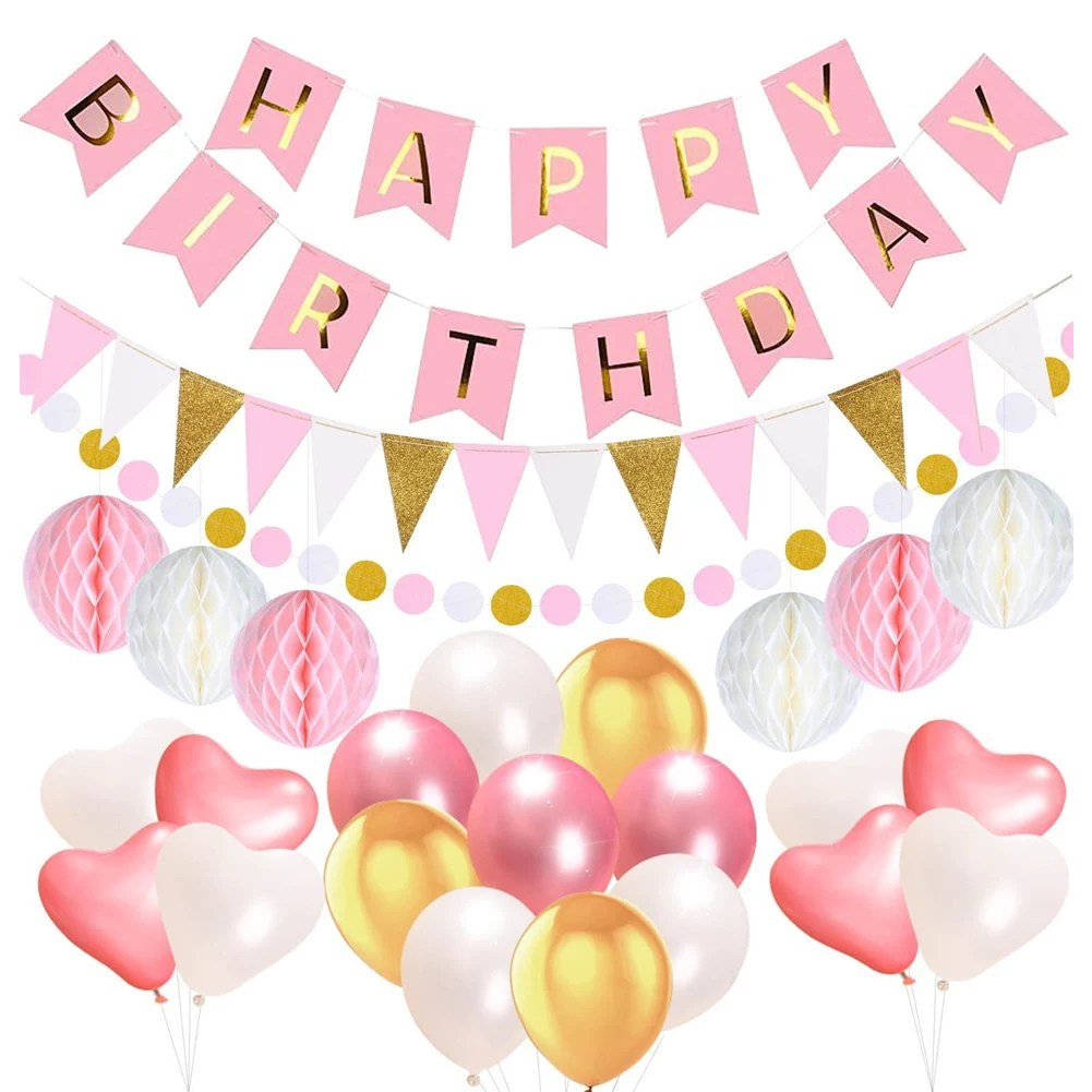Happy Birthday Banner with Balloons Pink and Gold Birthday Etsy