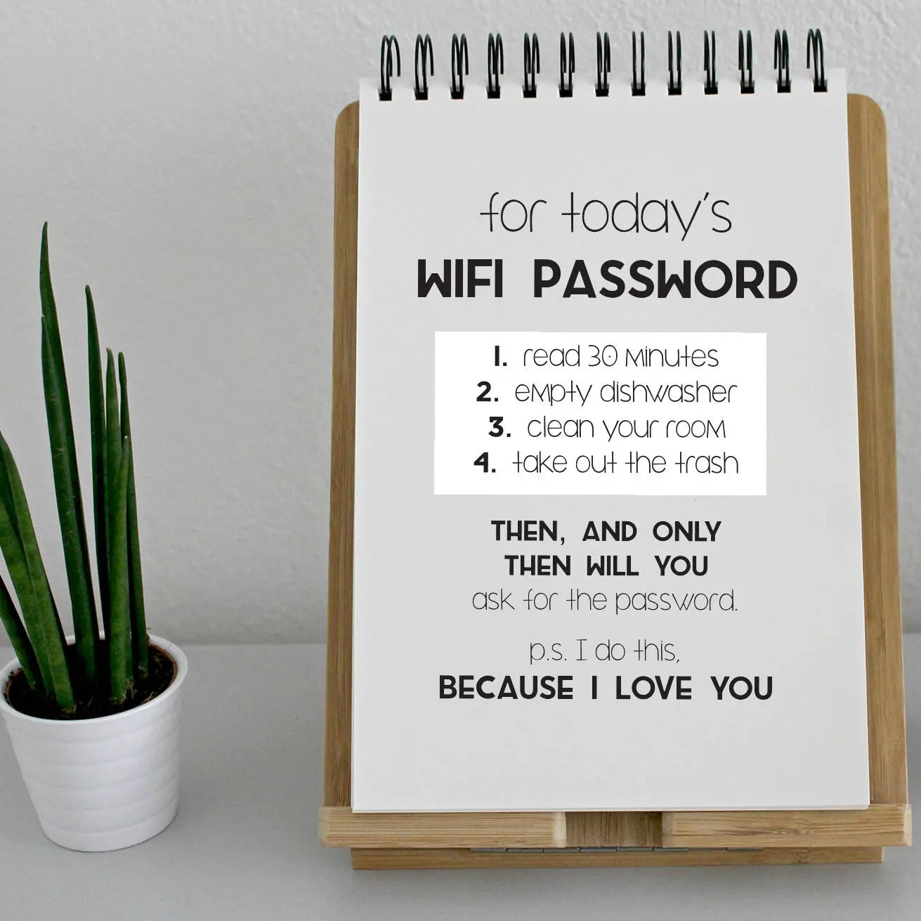 Wifi Password / Chores for Wifi / Chore List / To Do List / Etsy