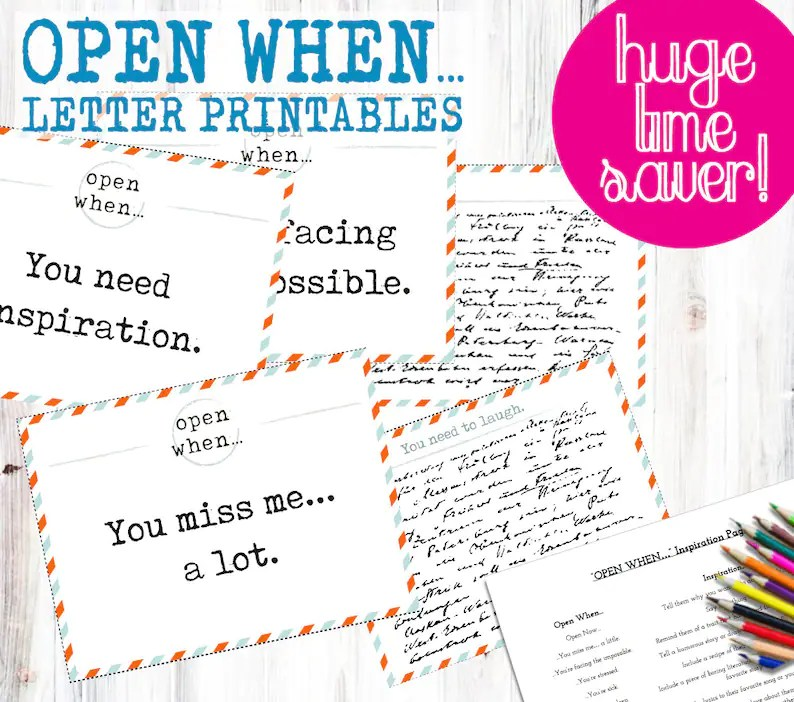 30 OPEN WHEN LETTER Pre-Made Printables Print instantly to Etsy