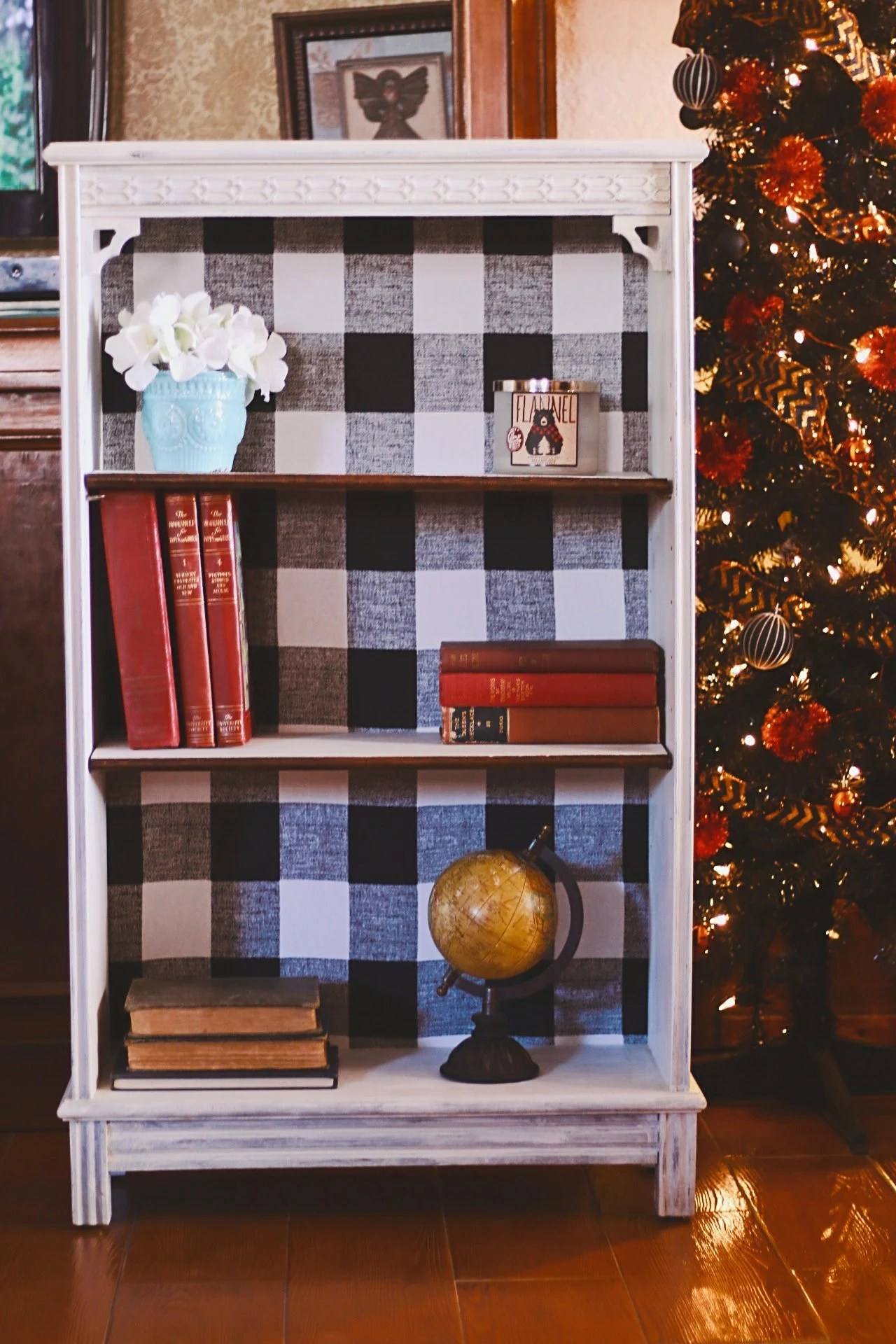 Vintage Bookcase Buffalo Plaid Bookshelf Antique Bookshelf Vintage Bookshelf Farmhouse Rustic Decor