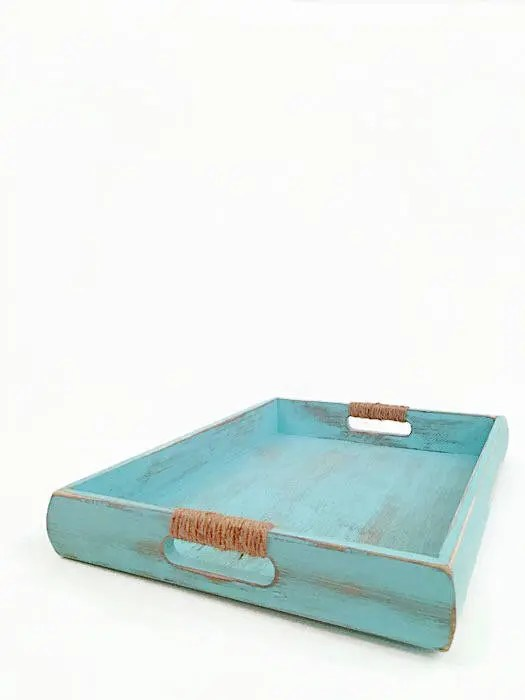 Holz Tablett Nautische Holz Tablett Küsten Ottoman Tablett Aqua Chippy Couchtisch Tablett Weiße Chippy Bett Tablett Rustikale Holz Tablett Server Tablett