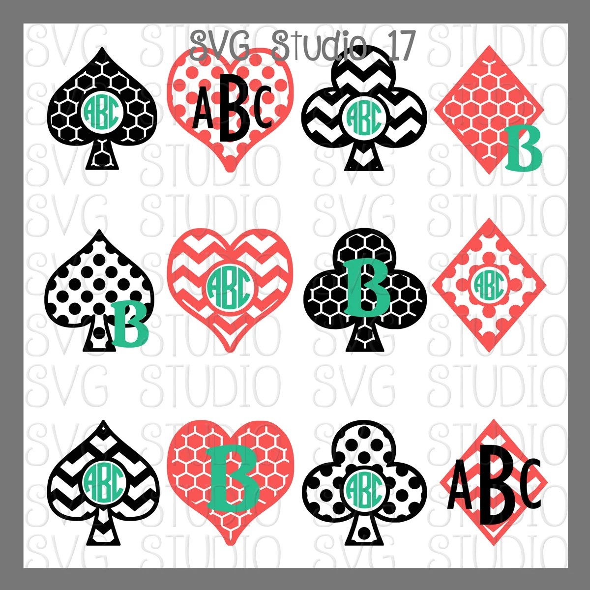 SVG Playing Card Designs Heart SVG frame Spade Club Etsy