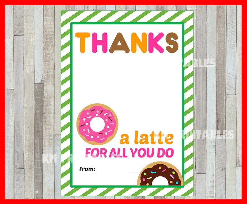 Printable Thanks a Latte Thank You Card instant download Etsy