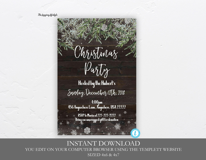 Rustic Christmas Party Invitation Christmas Party Invitation Etsy