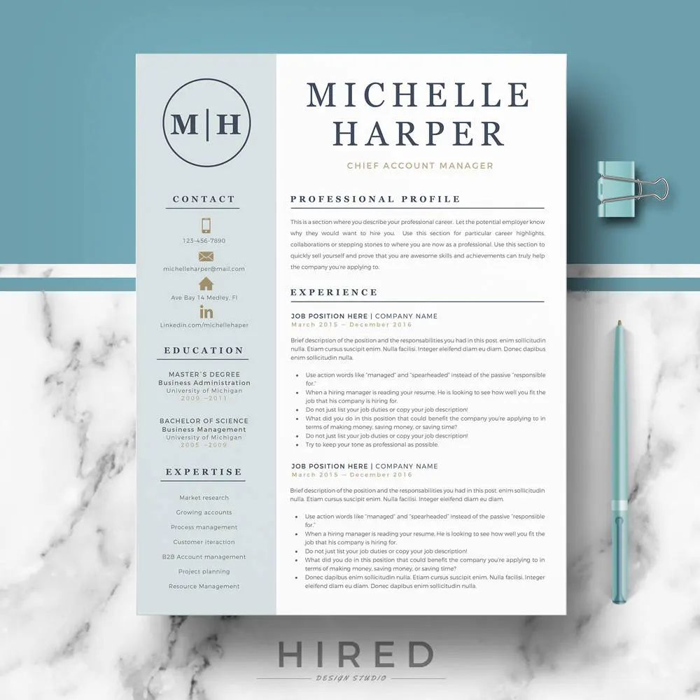 create cv template word