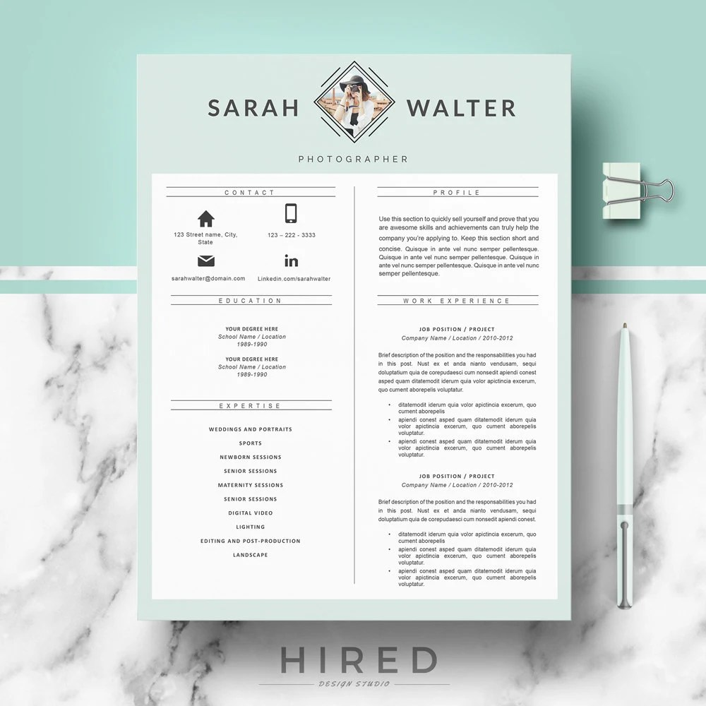 Modern Resume Template CV Templates for Word  Pages Etsy