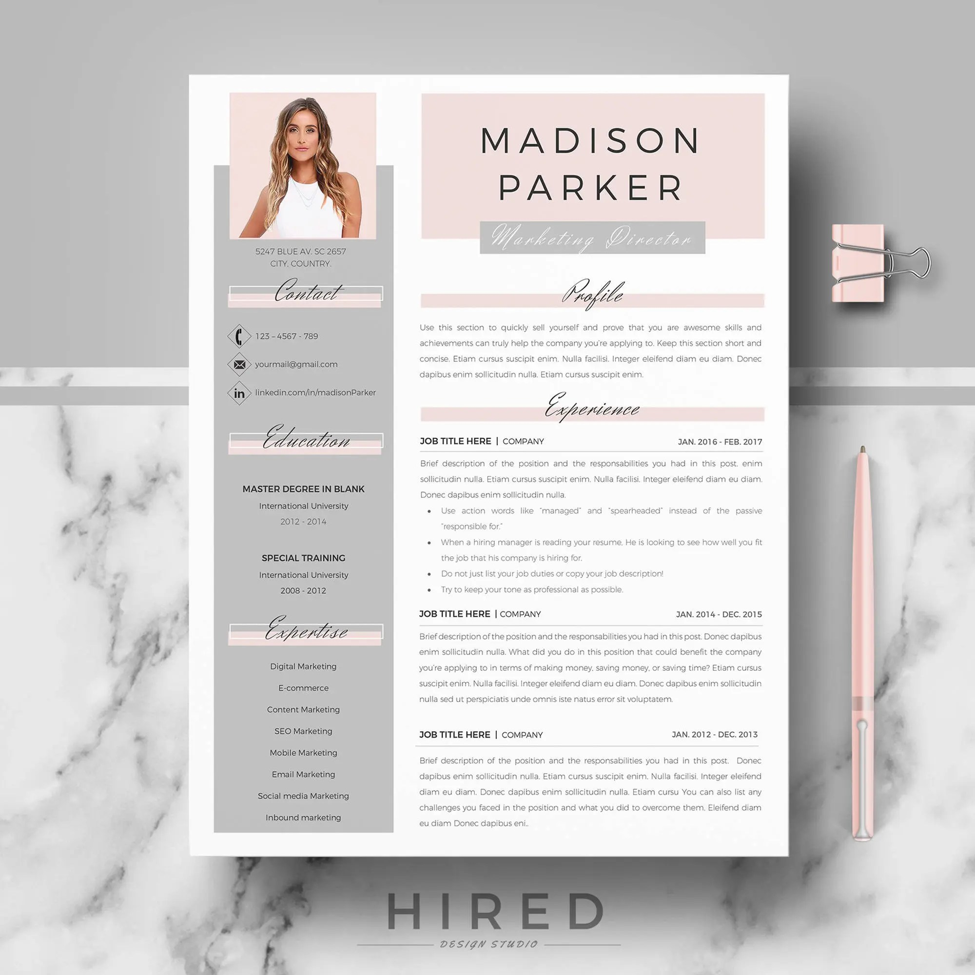 Creative  modern Resume / CV Template for Word AND Pages Etsy